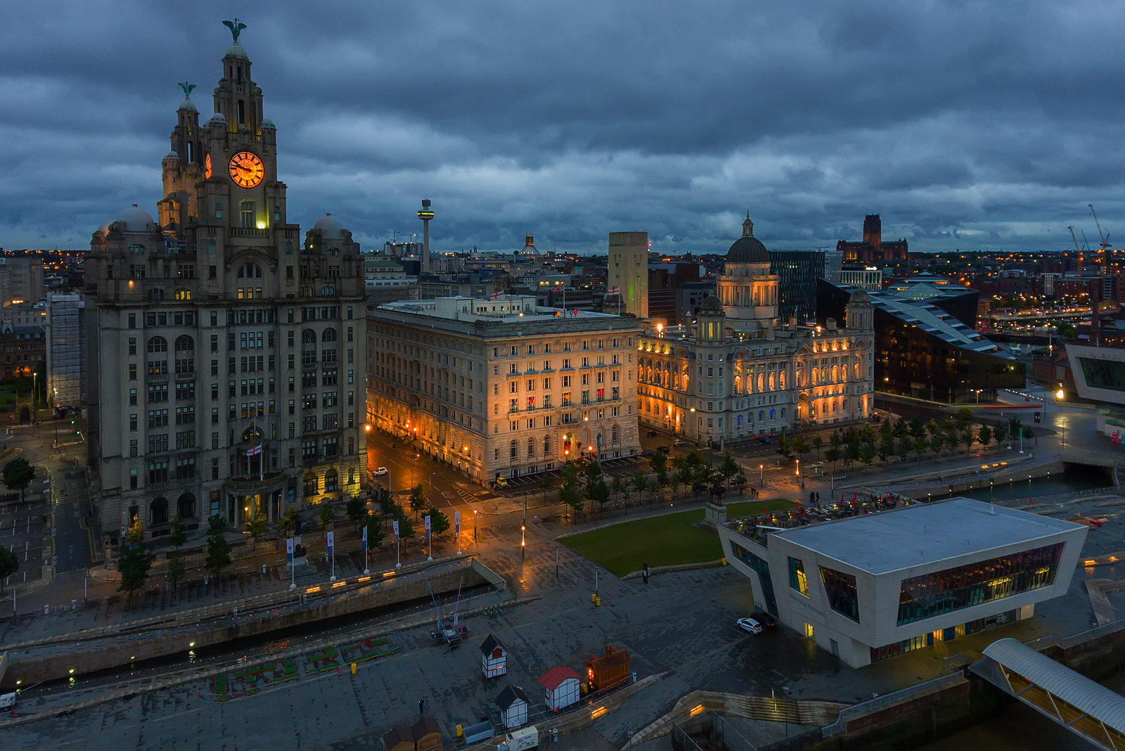 The Three Graces, Pier Head, Liverpool at night