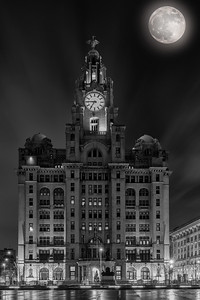 Royal Liver Building, Liverpool and Supermoon