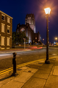Anglican Cathedral at night, viewed from Rodney Street, Liverpool