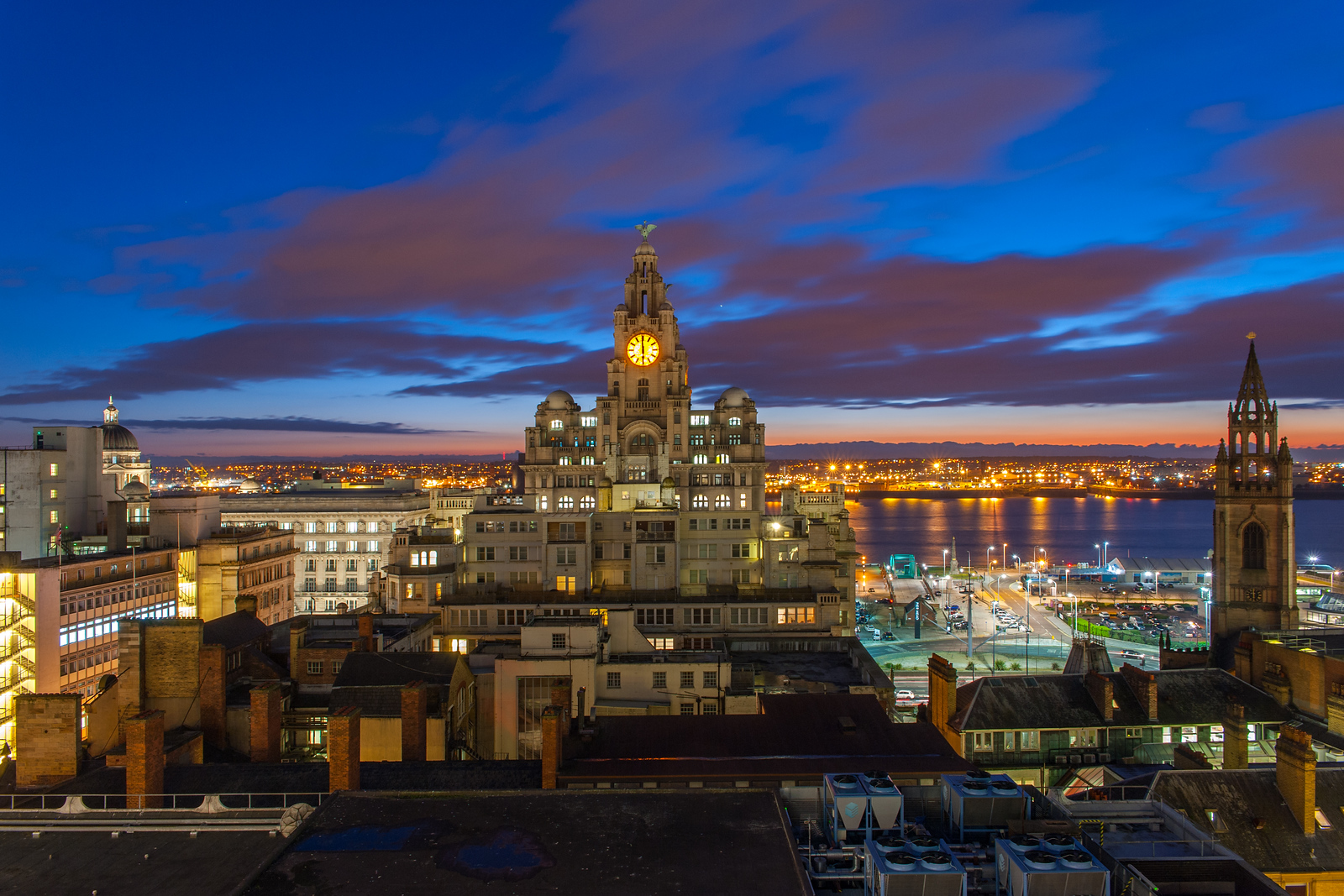 Royal Liver Building and River Mersey at Night