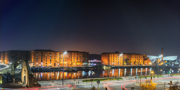 Albert Dock at night, Liverpool