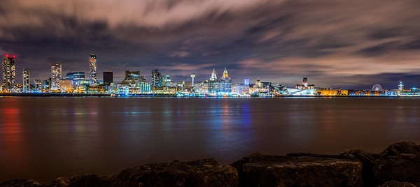 Liverpool Waterfront at Night Panoramic