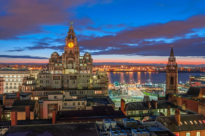 Royal Liver Building, Liverpool at twilight