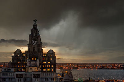Royal Liver Building, Liverpool and Rain Crossing Over From the Irish Sea