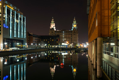 Night view of Princes Dock, Liverpool