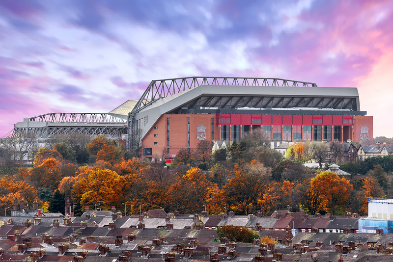 Stanley Park in Autumn and Liverpool FC Anfield Stadium