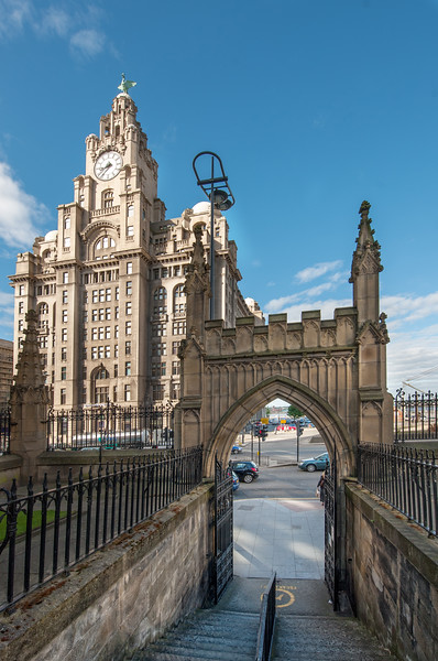 View of the Royal Liver Building, Liverpool from Our Lady and St Nicholas Church Gardens