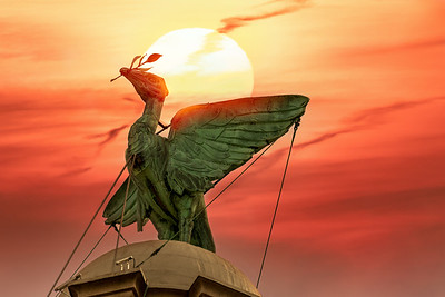 Sunset Over the Liver Bird, Royal Liver Building, Liverpool