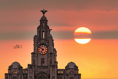Sunset, Royal Liver Building, Liverpool