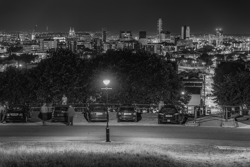 Liverpool Skyline at night, viewed from Everton Park. Black and White