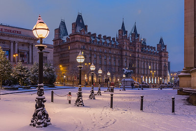 St George's Plateau, Liverpool in the snow