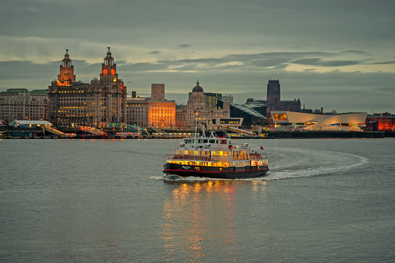 Royal Iris of the Mersey and Liverpool Waterfront at low light