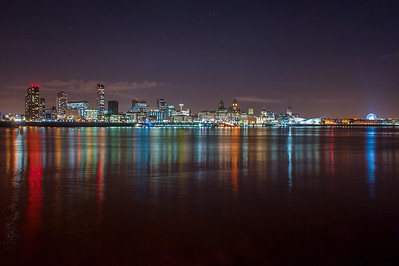 River Mersey and Liverpool Waterfront at night