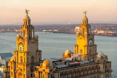 Royal Liver Building, Liverpool and River Mersey