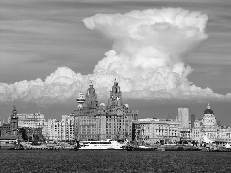 Liverpool Waterfront and Mushroom Cloud over the city