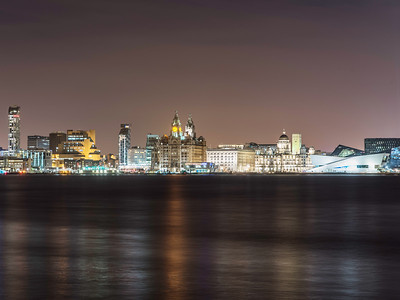 Night View of Liverpool Waterfront from Birkenhead