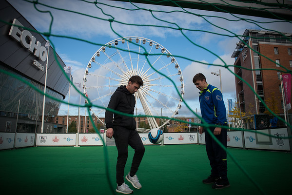 """Confronting Resistance: Fundamentals to Innovations""<br /> The 47th Union World Conference on Lung Health, Liverpool, United Kingdom. <br /> Photo shows: Liverpool Homeless Football Club playing football on a temporary pitch as part of the Community Common. Photo©Marcus Rose/The Union"