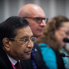 """Confronting Resistance: Fundamentals to Innovations""<br /> The 47th Union World Conference on Lung Health, Liverpool, United Kingdom. <br /> Photo shows: Hon Rajitha Senaratne, Minister of Health, Nutrition and Indigenous Medicine, Sri Lanka<br /> Press Conference 1 -  the challenges of responding to the global epidemic of TB, tobacco-related diseases and NCDs.  Photo©Marcus Rose/The Union"