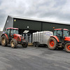 Tractors with trailers unloading at Brock auction mart.
