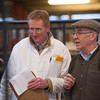 Auctioneer Stephen Walker and Brian Phillips from Northallerton judging the New Year Prize Show and Sale of Store Cattle and feeding Bulls at Leyburn mart.