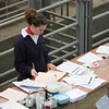 Ashford Market Store Cattle Sale<br /> Lizzy Burden sorting passports out<br /> Picture Tim Scrivener 07850 303986