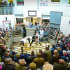 Champion Belgian Blue cross heifer from Ellie and Michael Wynne going through the ring and selling for 670ppkg.