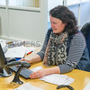 Heather Scott in the office at Hopes Auction Wigton