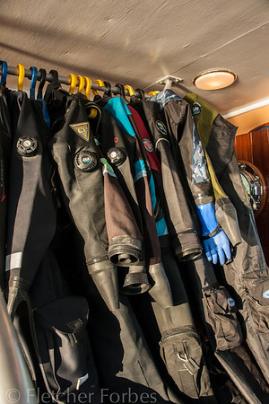 Our drysuits, hung up to dry ( they never do!)