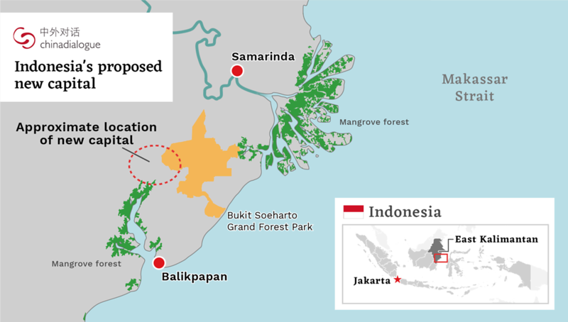 Map of Indonesia's proposed new capital