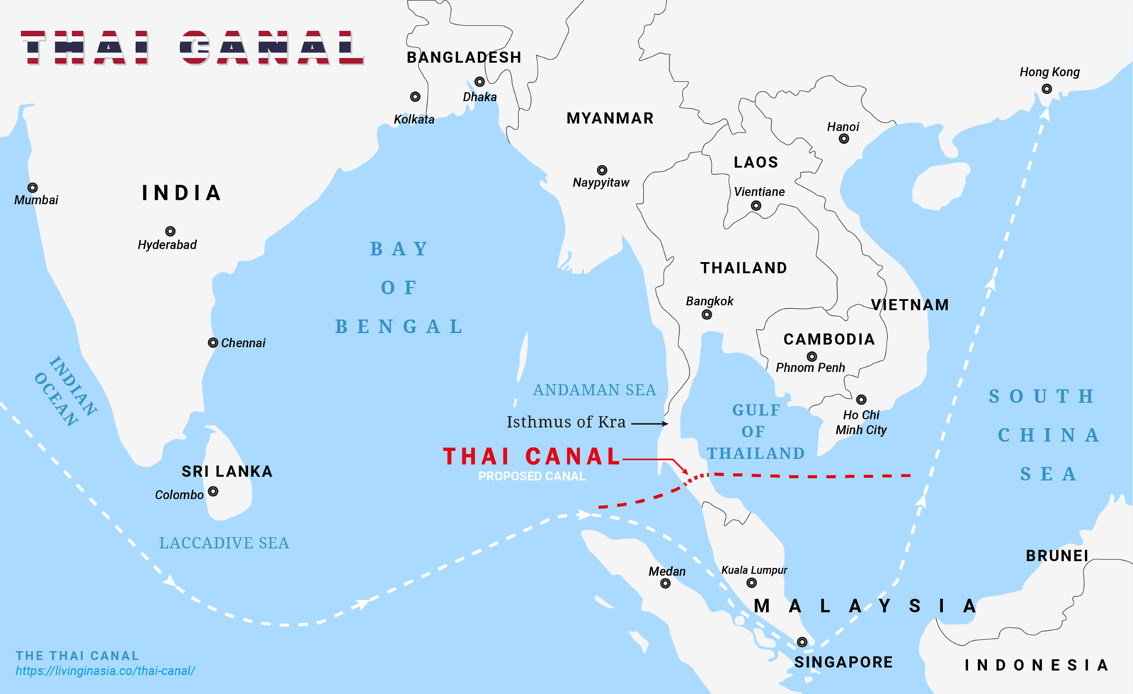 The Thai Canal - The proposed canal across the Isthmus of Kra in Southern Thailand