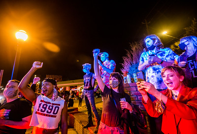As elections results become more clear, Biden supporters take to the streets in Decatur and East Altanta to celebrate President-Elect Joe Biden and his VP Kamala Harris on Saturday, Nov 7, 2020.  (Jenni Girtman for The Atlanta Journal-Constitution)