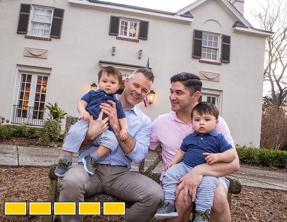 The family home where Mike Dorsey, left, and Yovy Gonzalez, right, live with their twin boys Llewyn, left, and Locke, 16 months old.  The home designed by architect Leila Ross Wilburn is on the Druid Hills home tour and has 5 working fireplaces, original trim and working radiators all standard in homes designed by Ross Wilburn.  (Jenni Girtman / Atlanta Event Photography)