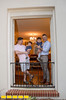 The family home where Yovy Gonzalez, pink shirt, left, and Mike Dorsey, blue shirt, live with their twin boys Llewyn, left, and Locke, 16 months old.  The home designed by architect Leila Ross Wilburn is on the Druid Hills home tour and has 5 working fireplaces, original trim and working radiators all standard in homes designed by Ross Wilburn.  (Jenni Girtman / Atlanta Event Photography)