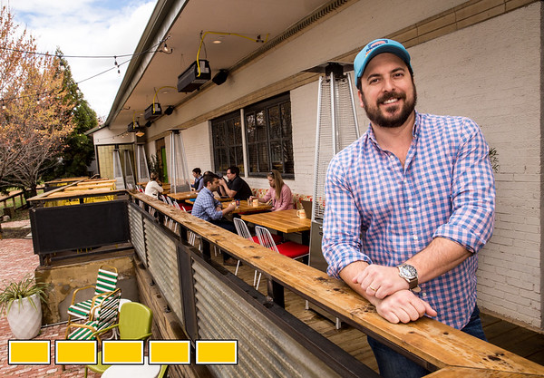 Michael Lennox is on the patio at Muchacho on Memorial Drive.  The historic depot turned restaurant is on the Beltline and seats more than 100 people in outdoor space.  The restaurant serves coffee and tacos in the front during the day and the Golden Eagle portion of the eatery opens for dinner and late night drinks in the back with its full bar and dining area, which includes the outdoor dining patio as well .  (Jenni Girtman / Atlanta Event Photography)