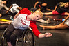 Full Radial Dance performers including Laurel Lawson, warm up in preparation for the The Modern Atlanta Dance Festival dress rehearsal at Balzer Theater at Herren's downtown Atlanta.  The troupe performs internationally and includes disabled and able bodied dancers. Douglas Scott is the Full Radial Dance's artistic/executive director and the founder of the MAD Festival.   (Jenni Girtman / Atlanta Event Photography)