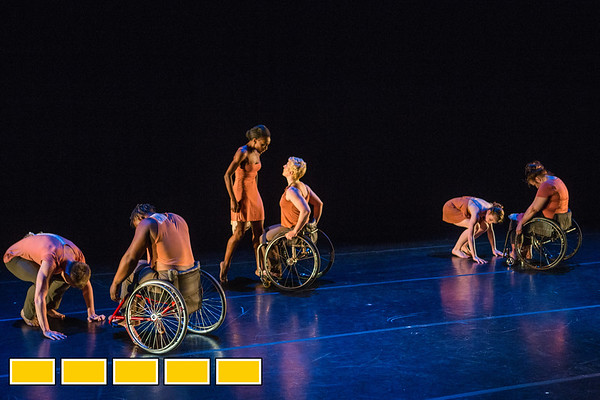Full Radial Dance performers Mason Diaz, from left, DeMarco Sleeper, Rebekah Pleasant-Patterson, Laurel Lawson, McKenzie Beaverson and Lindy Dannelley at a dress rehearsal for the The Modern Atlanta Dance Festival at Balzer Theater at Herren's in downtown Altanta.  The troupe dances internationally and includes disabled and able bodied dancers. Douglas Scott is the Full Radial Dance's artistic/executive director and the founder of the MAD Festival.  (Jenni Girtman / Atlanta Event Photography)