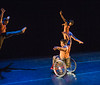 Full Radial Dance performers Mason Diaz, left, DeMarco Sleeper, front, and  Rebekah Pleasant-Patterson, top right, at a dress rehearsal for the The Modern Atlanta Dance Festival at Balzer Theater at Herren's in downtown Altanta.  The troupe dances internationally and includes disabled and able bodied dancers. Douglas Scott is the Full Radial Dance's artistic/executive director and the founder of the MAD Festival.  (Jenni Girtman / Atlanta Event Photography)