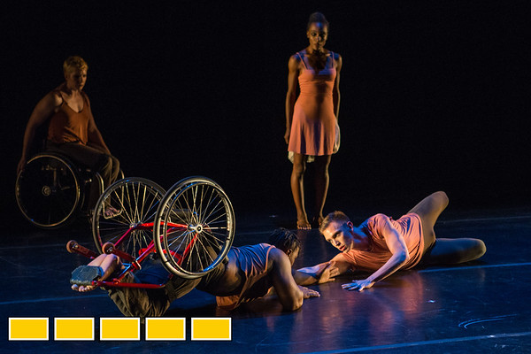 Full Radial Dance performers Laurel Lawson, left, DeMarco Sleeper, lower left, Mason Diaz, lower right, and Rebekah Pleasant-Patterson, standing, at a dress rehearsal for the The Modern Atlanta Dance Festival at Balzer Theater at Herren's in downtown Altanta.  The troupe dances internationally and includes disabled and able bodied dancers. Douglas Scott is the Full Radial Dance's artistic/executive director and the founder of the MAD Festival.  (Jenni Girtman / Atlanta Event Photography)