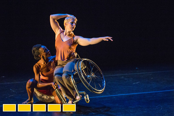 Full Radial Dance dancers Rebekah Pleasant-Patterson and Laurel Lawson at a dress rehearsal for the The Modern Atlanta Dance Festival at Balzer Theater at Herren's in downtown Altanta.  The troupe dances internationally and includes disabled and able bodied dancers. Douglas Scott is the Full Radial Dance's artistic/executive director and the founder of the MAD Festival.  (Jenni Girtman / Atlanta Event Photography)