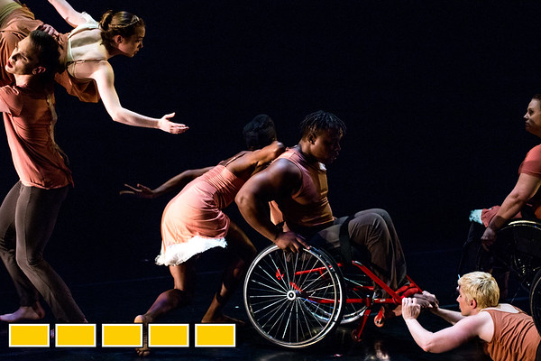 Full Radial Dance performers Mason Diaz, from left, McKenzie Beaverson, Rebekah Pleasant-Patterson, DeMarco Sleeper, Laurel Lawson and Lindy Dannelley, far right, at a dress rehearsal for the The Modern Atlanta Dance Festival at Balzer Theater at Herren's in downtown Altanta.  The troupe dances internationally and includes disabled and able bodied dancers. Douglas Scott is the Full Radial Dance's artistic/executive director and the founder of the MAD Festival.  (Jenni Girtman / Atlanta Event Photography)