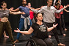 Full Radial Dance performers including Lindy Dannelley, warm up in preparation for the The Modern Atlanta Dance Festival dress rehearsal at Balzer Theater at Herren's downtown Atlanta.  The troupe performs internationally and includes disabled and able bodied dancers. Douglas Scott is the Full Radial Dance's artistic/executive director and the founder of the MAD Festival.   (Jenni Girtman / Atlanta Event Photography)