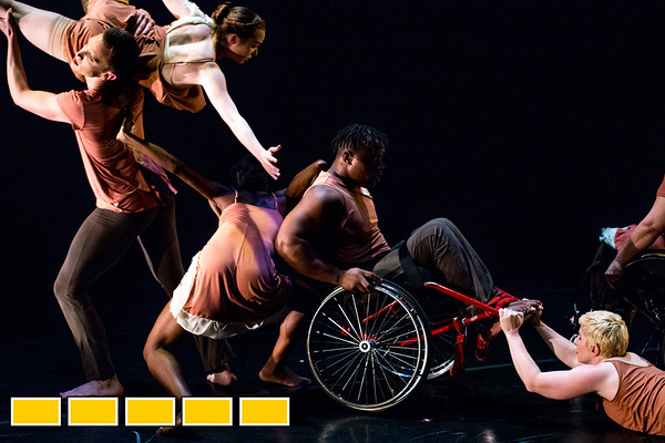 Full Radial Dance performers Mason Diaz, from left, McKenzie Beaverson,Rebekah Pleasant-Patterson, DeMarco Sleeper and Laurel Lawson, lower right, at a dress rehearsal for the The Modern Atlanta Dance Festival at Balzer Theater at Herren's in downtown Altanta.  The troupe dances internationally and includes disabled and able bodied dancers. Douglas Scott is the Full Radial Dance's artistic/executive director and the founder of the MAD Festival.  (Jenni Girtman / Atlanta Event Photography)