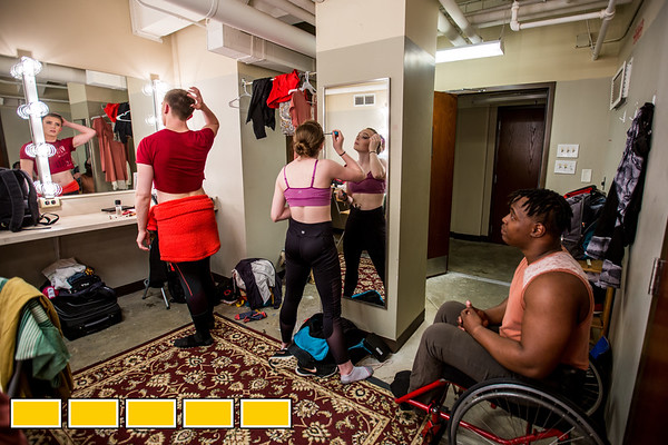 In the dressing room at at Balzer Theater at Herren's, Full Radial Dance performers prepare for the The Modern Atlanta Dance Festival dress rehearsal downtown Atlanta.  The troupe dances internationally and includes disabled and able bodied dancers. Douglas Scott is the Full Radial Dance's artistic/executive director and the founder of the MAD Festival.  (Jenni Girtman / Atlanta Event Photography)DeMarco Sleeper, African American in wheelchair performs with McKenzie Beaverson, blonde hair in bun.  Laurel Lawson, blonde short hair in wheelchair, Lindy Dannelley, bun on top of head, wheelchair.  Mason Diaz, male wearing crop top.  Rebekah Pleasant-Patterson, African American.
