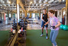 Viva Fitness, Stephen Smith's personal training business, is located in The Training Room between the Eastside Trail of the Beltline and Ponce de Leon Place.  Smith works with clients Amanda Chappell (orange shirt) and  Dawn Landau (tie dye shirt).  (Jenni Girtman/ info@atlantaeventphotography.com)