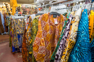Traditional African fabrics and clothing are available at AfroCentric Network where fabrics from Ghana and Kenya are in great supply.  Batik fabrics and clothing are in large supply.  The Batik method creates colored designs on textiles by dyeing them, having first applied wax to the parts to be left undyed.  (Jenni Girtman / Atlanta Event Photography)