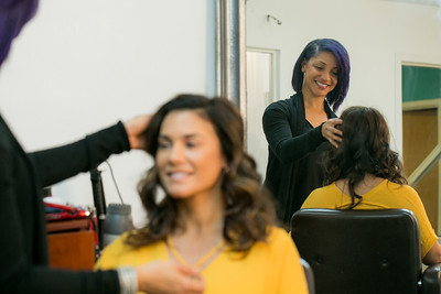 White Diamond Image Consulting offers more than standard salon offerings not only hair, makeup and nail services but also before and after photography shoots, neck massage, tea and extra pampering for women only.  Nicole Castoreno, a mother of two, gets a Mommy Makeover with Cherise B Thomas doing her hair.   (Jenni Girtman / Atlanta Event Photography)