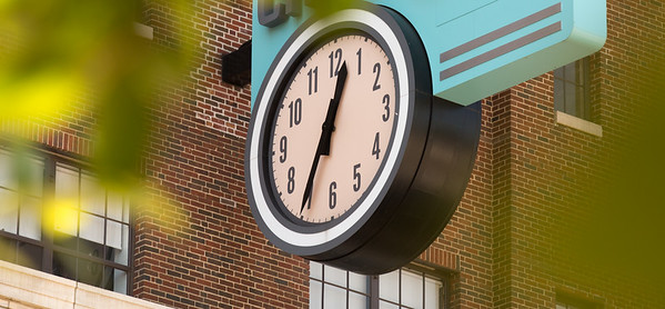 A clock hanging on Ponce City Market