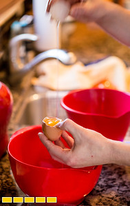 Jennifer Harvey makes custard gelato at her home after learning the art in Italy.  The simple ingredients start with egg yolks.  She gifted herself the extensive course for her birthday and spent a month abroad to learn the science of gelato.  (Jenni Girtman / Atlanta Event Photography)