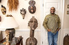 Jean-Patrick Guichard is a long-time collector of African art, he is at his Fairburn home, and plans a gallery opening in metro Atlanta in 2018.  Guichard was born in New York and raised in West Africa and has pieces passed down from his mother as well as an expansive set of paintings, sculpture, ceremonial masks and artifacts he has secured through years of searching.  Many of the works are early works of now prolific and well known artists.  Guichard begins relationship at art school and art communities in Africa.  (Jenni Girtman / Atlanta Event Photography)