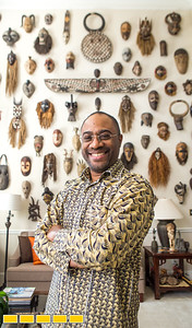 Jean-Patrick Guichard is a long-time collector of African art, he is at his Fairburn home, and plans a gallery opening in metro Atlanta in 2018.  On display at his home, Guichard only invests in masks that have been used in ceremony.  This is only a portion of the whole collection.  Guichard was born in New York and raised in West Africa and has pieces passed down from his mother as well as an expansive set of paintings, sculpture, ceremonial masks and artifacts he has secured through years of searching.  Many of the works are early works of now prolific and well known artists.  Guichard begins relationship at art school and art communities in Africa.  (Jenni Girtman / Atlanta Event Photography)